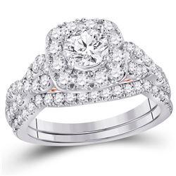 Diamond Bridal Wedding Engagement Ring Band Set 1-3/4 Cttw 14kt Two-tone Gold
