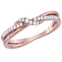 Diamond Crossover Stackable Band Ring 1/6 Cttw 14kt Rose Gold