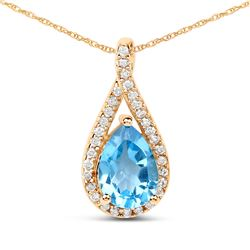 0.89 ctw Swiss Blue Topaz & Diamond Pendant 14K Yellow Gold - REF-32K2T
