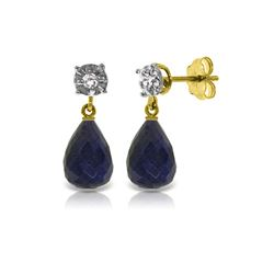 Genuine 17.66 ctw Sapphire & Diamond Earrings 14KT Yellow Gold - REF-37A4K