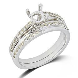 0.31 CTW Diamond Wedding Ring Set 14K White Gold - REF-52X3R