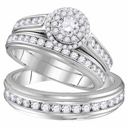 His & Hers Diamond Solitaire Matching Bridal Wedding Ring Band Set 1-5/8 Cttw 10kt White Gold