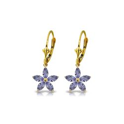 Genuine 2.8 ctw Tanzanite Earrings 14KT Yellow Gold - REF-68Y3F