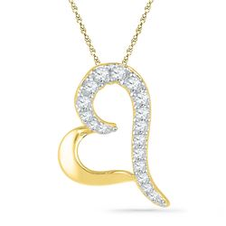 Diamond Heart Pendant 1/12 Cttw 10kt Yellow Gold