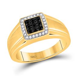 Mens Round Black Color Enhanced Diamond Square Cluster Ring 3/8 Cttw 10kt Yellow Gold