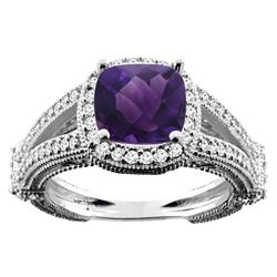 4.10 CTW Amethyst & Diamond Ring 14K White Gold - REF-55H3M