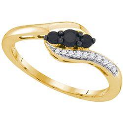 Round Black Color Enhanced Diamond 3-stone Ring 1/4 Cttw 10kt Yellow Gold