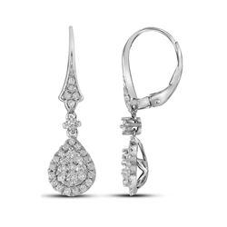 Diamond Teardrop Cluster Dangle Earrings 7/8 Cttw 14kt White Gold