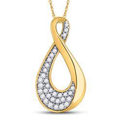 Diamond Teardrop Cluster Pendant 1/8 Cttw 10kt Yellow Gold