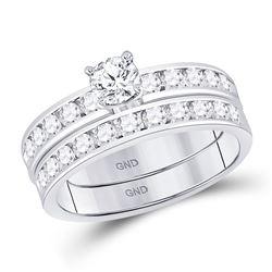 Diamond Bridal Wedding Engagement Ring Band Set 1-1/3 Cttw 14kt White Gold