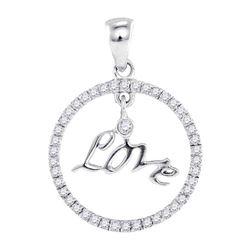 Diamond Circular Captured Love Circle Pendant 10k White Gold
