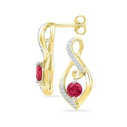 Round Lab-Created Ruby Solitaire Oval Diamond Earrings 1.00 Cttw 10kt Yellow Gold