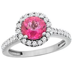 1.38 CTW Pink Topaz & Diamond Ring 14K White Gold - REF-60F8N