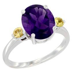 2.64 CTW Amethyst & Yellow Sapphire Ring 10K White Gold - REF-24W5F