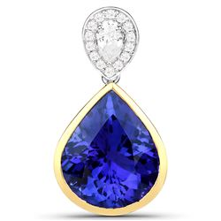 10.48 ctw Tanzanite & Diamond Pendant 18K White Gold - REF-1012W8M