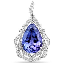 24.09 ctw Tanzanite & Diamond Pendant 18K White Gold - REF-1499F2W
