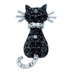Round Black Color Enhanced Diamond Animal Kitty Cat Feline Pendant 1/3 Cttw 14kt White Gold