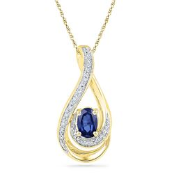 Oval Lab-Created Blue Sapphire Solitaire Diamond Pendant .02 Cttw 10kt Yellow Gold