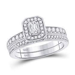 Emerald Diamond Bridal Wedding Engagement Ring Band Set 1.00 Cttw 14kt White Gold