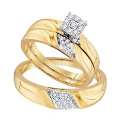 His & Hers Diamond Solitaire Matching Bridal Wedding Ring Band Set 1/5 Cttw 10kt Yellow Gold