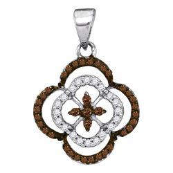 Round Brown Diamond Quatrefoil Cluster Pendant 1/4 Cttw 10kt White Gold