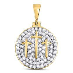 Mens Diamond Trinity Triple Cross Charm Pendant 1-1/2 Cttw 10kt Yellow Gold
