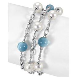54.59 CTW Freshwater Pearl & Diamond Bracelet 14K White Gold - REF-172M2F