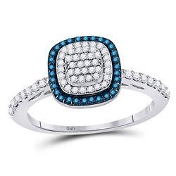Blue Color Enhanced Diamond Square-shape Cluster Ring 3/8 Cttw 10k White Gold