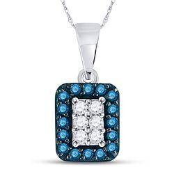 Round Blue Color Enhanced Diamond Rectangle Frame Cluster Pendant 1/5 Cttw 10kt White Gold