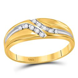 Mens Diamond Double Row Slender Wedding Band 1/8 Cttw 10kt Yellow Gold