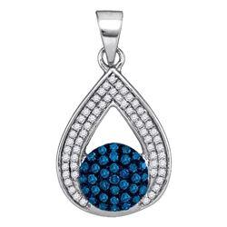 Round Blue Color Enhanced Diamond Teardrop Cluster Pendant 1/3 Cttw 10kt White Gold