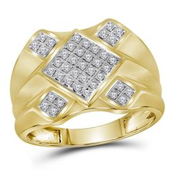 Mens Diamond Diagonal Square Cluster Ring 1/3 Cttw 10kt Yellow Gold