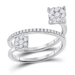 Diamond Double Flower Cluster Ring 3/4 Cttw 14kt White Gold