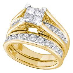 Diamond Bridal Wedding Engagement Ring Band Set 7/8 Cttw 10kt Yellow Gold