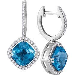 Cushion Natural Blue Topaz Diamond Dangle Earrings 5-1/2 Cttw 14kt White Gold