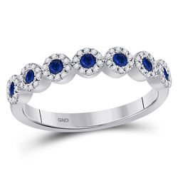 Round Blue Sapphire Stackable Band Ring 1/2 Cttw 10kt White Gold