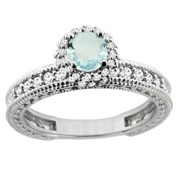 0.77 CTW Aquamarine & Diamond Ring 14K White Gold - REF-67R2H