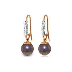 Genuine 8.18 ctw Pearl & Diamond Earrings 14KT Rose Gold - REF-37W6Y