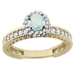 0.77 CTW Aquamarine & Diamond Ring 14K Yellow Gold - REF-67M2K