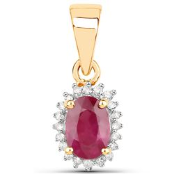 0.62 ctw Ruby & White Diamond Pendant 14K Yellow Gold - REF-19K8T