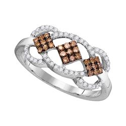 Round Brown Diamond Cluster Ring 1/3 Cttw 10kt White Gold