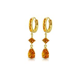 Genuine 5.62 ctw Citrine Earrings 14KT Yellow Gold - REF-62H9X