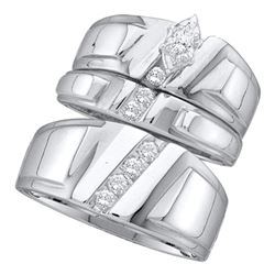 Marquise Diamond Solitaire Mens Matching Trio Wedding Bridal Set 1/4 Cttw 14k White Gold