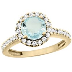 1.13 CTW Aquamarine & Diamond Ring 10K Yellow Gold - REF-56M5A