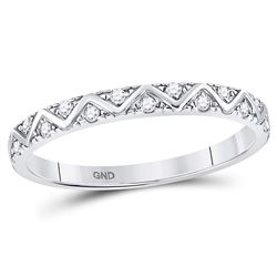 Diamond Zigzag Stackable Band Ring 1/10 Cttw 10kt White Gold