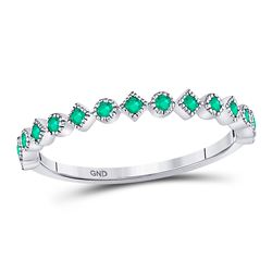 Round Emerald Square Dot Stackable Band Ring 1/5 Cttw 10kt White Gold
