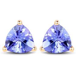 1.50 ctw Tanzanite Earrings 14K Yellow Gold - REF-41A4M