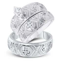 His & Hers Marquise Diamond Crosses Matching Bridal Wedding Ring Band Set 1/8 Cttw 10kt White Gold