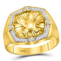 Mens Diamond Eagle Cluster Ring 1/4 Cttw 10kt Yellow Gold