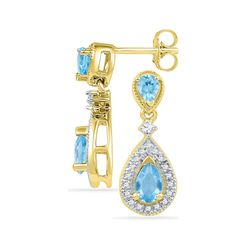 Pear Lab-Created Blue Topaz Dangle Diamond Earrings 1-1/2 Cttw 10kt Yellow Gold